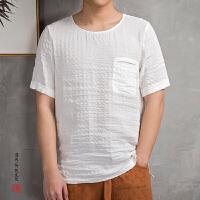 2018春夏新款中国风男装亚麻男士短袖T恤加肥加大码佛系男装
