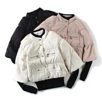 姐姐优品 冬季外套女 韩版假两件针织拼接单排扣长袖羽绒服女