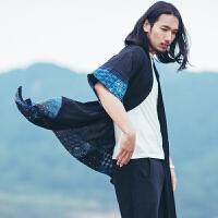 中国风男装风衣外套中长款复古民族风薄款棉麻披风中式 开衫