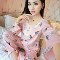 2018新款春秋天纯棉绸睡衣女士夏季长袖绵绸薄款人造棉家居服大码月子服.