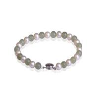 梦克拉 925银和田玉珍珠手链 韵味 和田玉碧玉珍珠手串女款 玉石银手饰品