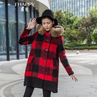 海贝2017冬装新款女装 学院风毛领连帽格子中长款毛呢外套呢大衣