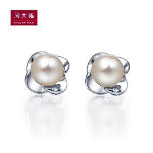 周大珠 珠宝美丽花朵925银珍珠耳钉AQ32344>>定价