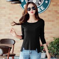 2017春新品款韩版女装外穿纯棉打底小衫秋衣女士修身长袖T恤上衣 黑色