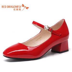 红蜻蜓新款方头浅口女鞋粗跟高跟漆皮橡胶一字扣单鞋WDB7940