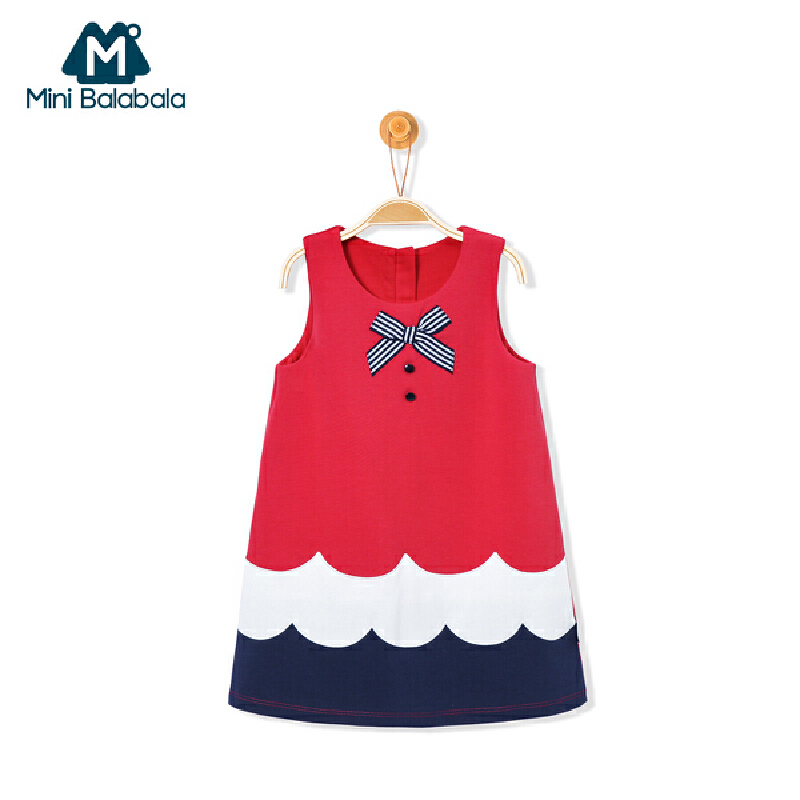 迷你巴拉巴拉红色连衣裙女童宝宝公主裙春秋韩版新款儿童背心裙子