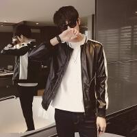 ZAH正品皮衣男士2017秋季新款PU机车皮衣男式修身帅气学生皮夹克潮流立领外套 黑色