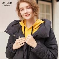 拉贝缇羽绒服女装短款拉夏贝尔2018新款秋冬季时尚小个子外套百搭