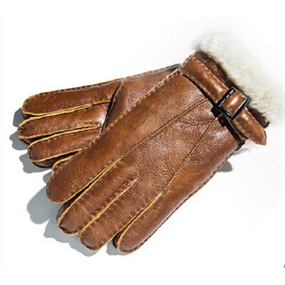 男士冬加厚羊毛骑车防寒真皮皮毛一体皮手套