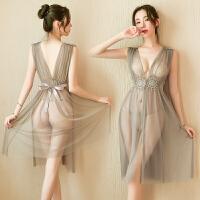 睡裙睡衣性感内衣情趣超骚透视长裙古代青楼诱惑激情露乳套装情趣