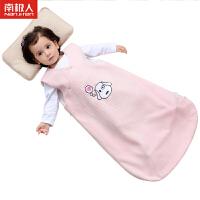 南极人婴儿睡袋全棉空气棉春秋款男女宝宝侧开无袖蘑菇睡袋冬季空调房防踢被