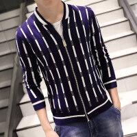 秋装男士针织衫夹克外套韩版修身拉链开衫针织毛衣帅气条纹夹克潮