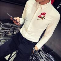 春节新款男士韩版修身绣花长袖衬衫潮流青年男式免烫大码衬衣服