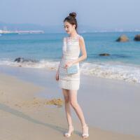 2018夏季新款女装气质名媛无袖拼接修身显瘦包臀蕾丝打底连衣裙潮 白色