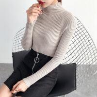 2018秋冬新款半高领套头毛衣女韩版短款紧身针织衫加厚打底衫潮