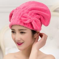 泰蜜熊女性必备不掉毛不掉色日韩蝴蝶结珊瑚绒柔软干发帽