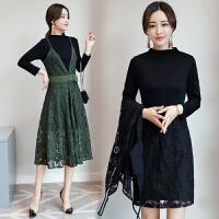 秋装新款两件套连衣裙女韩版中长款蕾丝连衣裙时尚拼接套装裙