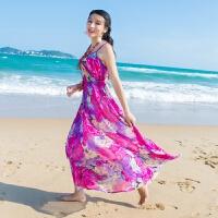 2018新品胖MM宽松大码雪纺连衣裙子吊带波西米亚海边度假长裙子 玫红色-- 送头花腰带沙滩巾