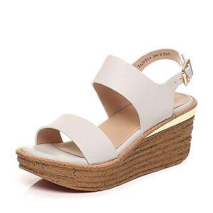 Tata/他她2017年夏季牛皮休闲舒适坡跟女皮凉鞋2NTC6BL7