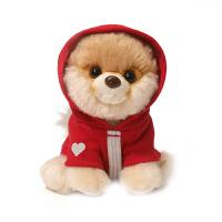 boo小狗狗毛绒玩具可爱仿真博美公仔女孩玩偶生日情人节礼物 红衣连帽衫 20厘米-29厘米