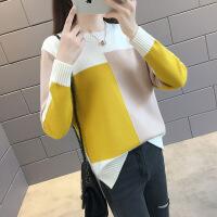 糖果色套头毛衣女宽松秋冬季新款韩版圆领拼色长袖针织打底衫上衣
