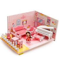 儿童木质3d立体拼图女孩音乐客厅拼装模型积木玩具2-3-4-5-6-7岁