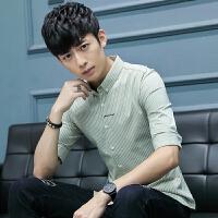 2018潮流夏季男士衬衫短袖条纹青年韩版修身休闲刺绣中袖衬衣