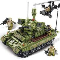森宝儿童益智拼插�犯呋�木军事拼图坦克战车飞机拼装玩具模型男孩