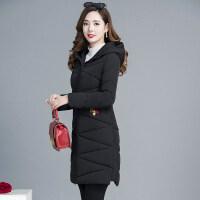 黑色羽绒女冬装韩版时尚中长款大码轻薄棉衣外套 黑色