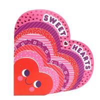 英文原版绘本 Sweet Hearts 粉红心形纸板书 3-6岁儿童启蒙形状认知书 作者Amy E. Sklansky