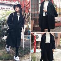 韩国毛呢外套女中长款原宿风bf黑色离子大衣潮学生褂子呢子衣服