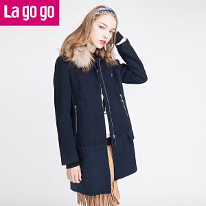 貉子毛领毛呢大衣女中长款呢子外套韩版秋冬修身厚女装