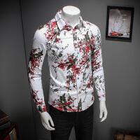 年新款长袖花色衬衫青少年潮男都市韩版修身衬衣春秋季男士