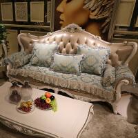 欧式沙发垫子四季通用防滑皮布艺客厅沙发套简约现代冬季 孔雀蓝 601