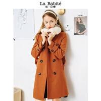 毛呢外套女2018新款秋冬季中长款韩版羊羔毛领流行小个子呢子大衣