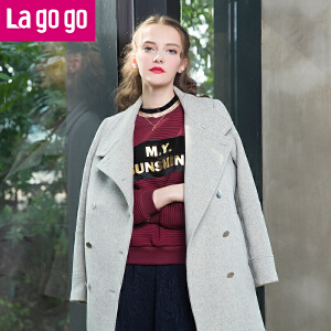 【618大促-每满100减50】Lagogo冬季新款双排扣呢子大衣女韩版毛呢秋冬中长款修身外套