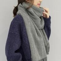 秋冬季纯侣长款保暖加厚围巾女冬天男条纹系流苏大围巾披肩