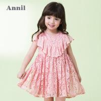 【2件35折:154】安奈儿童装女童蕾丝礼裙连衣裙夏装新款