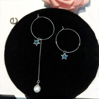 简约珍珠耳坠潮人耳圈不对称耳环女气质个性五角星星吊坠