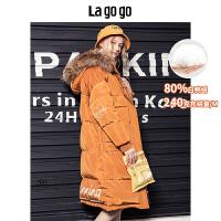 【开学季单件五折叠300-30优惠券】Lagogo预售2019冬季新款连帽羽绒服女中长款厚大衣外套HCYY318G04