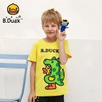 【4折价:79.6】B.duck小黄鸭童装男童短袖T恤夏季新款中大童宽松上衣印花打底衫BF2001932