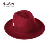 She'sGirl茜子 羊毛呢帽子 原创设计小怪兽大檐帽 秋冬牛仔爵士帽