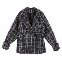 秋2018新款韩版复古粗花呢短款格子收腰长袖外套女小个子显高上衣 藏青色