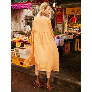 【秒杀价:183】妖精的口袋新款显瘦V领宽松抽褶荷叶边雪纺连衣裙子女