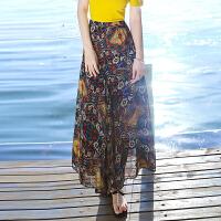 夏季女装雪纺半身裙波西米亚长裙海边度假沙滩裙 图片色XZA572-1