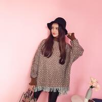 【38】秋季韩版套头半高领蝙蝠袖格纹拼接流苏编织呢针织衫女