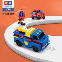 【薇娅推荐】奥迪双钻变形反反车3只装酷变车队赛场工程车玩具车
