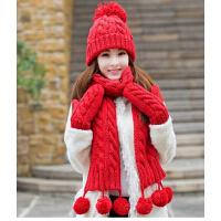 女冬季天韩版潮帽子围巾手套三件套装一体围脖 生日圣诞礼物毛线