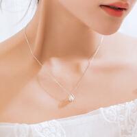 银项链女韩版简约学生人造珍珠吊坠锁骨链脖子饰品