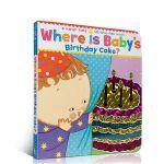 英文原版绘本 Karen Katz Where Is Baby's Birthday Cake? 纸板翻翻书 躲猫猫书